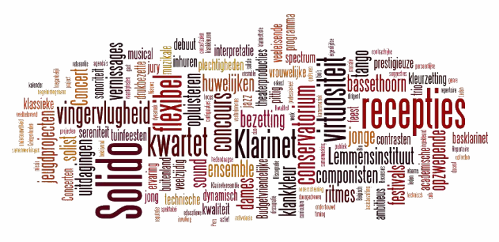 tag cloud: Solido, clarinet, basset horn, clarinet ensemble, clarinet quartet, ensemble, quartet, receptions, hire